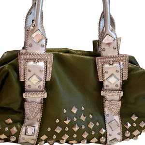 Charm and Luck Satchel in Dark green leather satchel with rhinestones