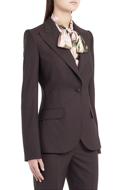 Item - Brown with Tag Tailored Single-breasted Wool-blend Blazer Size 6 (S)