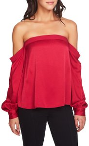 1.STATE Satin Monochrome Off The Shoulder Evening Top Red