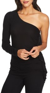 1.STATE Monochrome One Shoulder Ruffle Stretchy Top Black