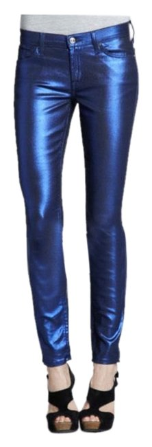 Item - Blue Liquid Metallic Coated Skinny Jeans Size 00 (XXS, 24)