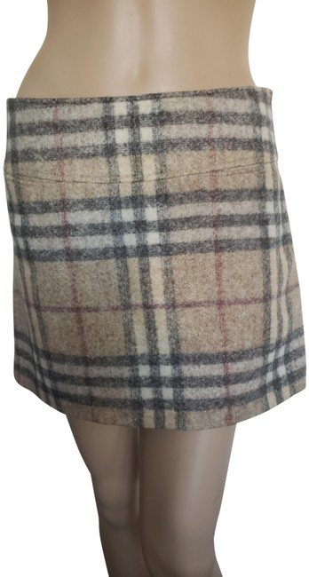 Item - Beige Multicolor London Nova Check Wool Skirt Size 6 (S, 28)