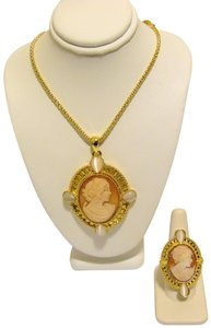 AMEDEO AMEDEO Cats Eye Cameo Necklace and Cameo Ring Set