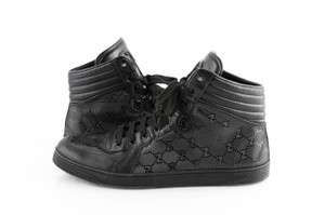 Gucci Black Gg Imprime High Top Lace Up Sneakers Shoes
