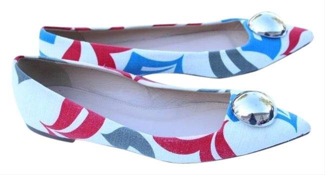 Item - White Red & Blue Pointy Toe Flats Size US 7 Regular (M, B)