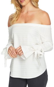 1.STATE Striped Cotton Longsleeve Tie Elastic Top White