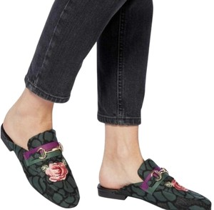 Steve Madden Flats Slide On Embroidered Floral Green Mules