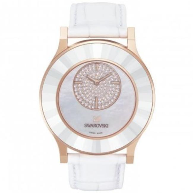 Item - White/Rose Gold Crystal Octea Classica Leather Wristwatch Watch