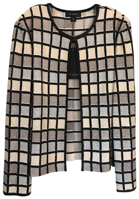 Item - Multi (Black and Nudes) Caviar Shimmer Checkers Jacket Cardigan Size 16 (XL, Plus 0x)