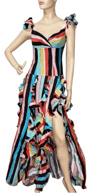 Item - Blue Rainbow Striped Ruffle Thigh Slit Gown Long Night Out Dress Size 4 (S)