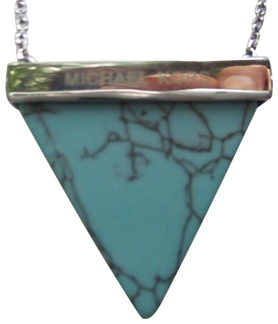 Item - Silver & Turquoise Reversible Crystal Faux Pendant Necklace