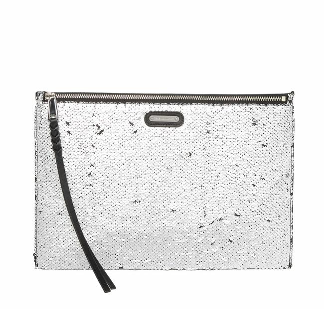 Item - Large Sequin Zip Silver Leather Clutch
