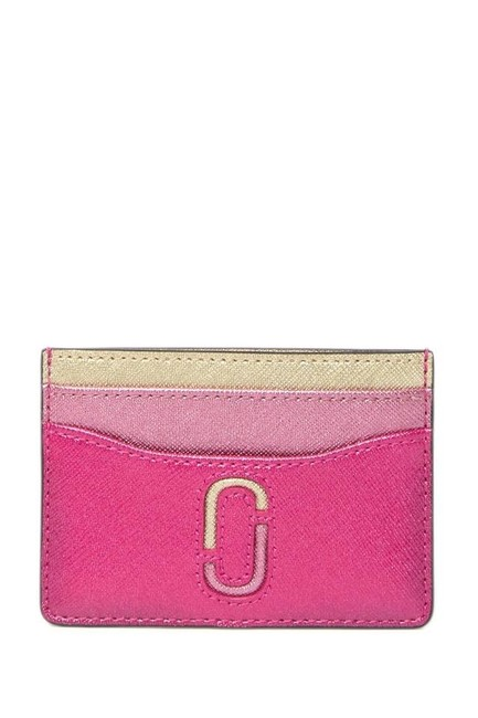 Item - Pink Multi New Snap Shot Leather Card Case Wallet