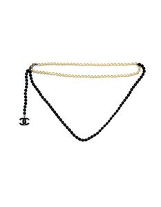 Chanel 2005 Black Bead and Faux Pearl CC Belt/Necklace