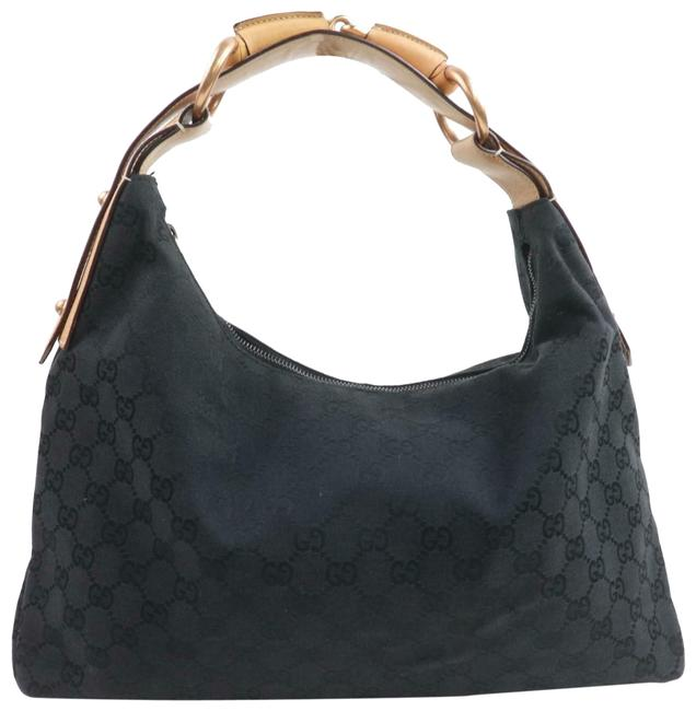 Gucci Horsebit Hobo Monogram 859510 Black Gg Canvas Shoulder Bag Gucci Horsebit Hobo Monogram 859510 Black Gg Canvas Shoulder Bag Image 1