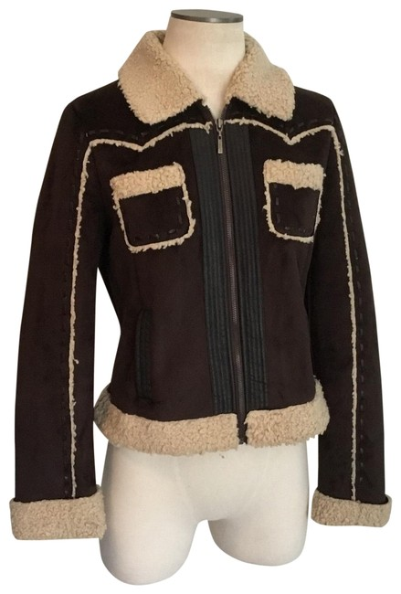Item - Brown Faux Suede Shearling Jacket Size 8 (M)