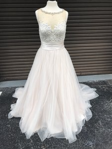 Justin Alexander Sand/Ivory Sweetheart By 6169 Formal Wedding Dress Size 10 (M)