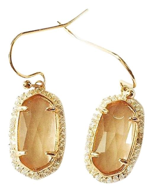 Item - Rose New Lee Pave Gold Drop Cats Eye Earrings