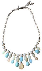 New York & Company Statement necklace with baby blue and grey stones
