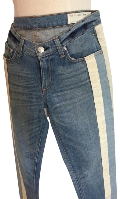 Item - Blue Light Wash Raceing Stripes Skinny Jeans Size 4 (S, 27)