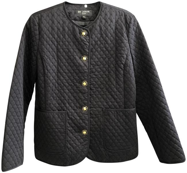 Item - Black W Coats Quilted W/ Gold & Enamel Buttons Jacket Size 8 (M)