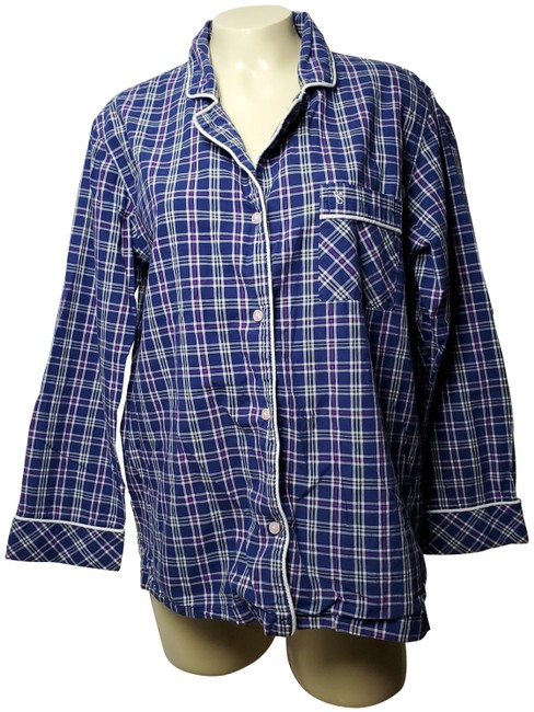 Preload https://img-static.tradesy.com/item/26149518/victoria-s-secret-blue-wide-sleeve-pajama-plaid-and-checks-button-down-top-size-10-m-0-2-650-650.jpg