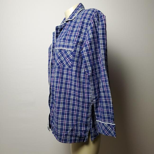 Victoria's Secret Pajama Plaid Wide Sleeves Button Down Shirt BLUE Image 1