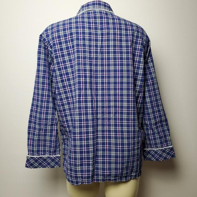 Victoria's Secret Pajama Plaid Wide Sleeves Button Down Shirt BLUE Image 2