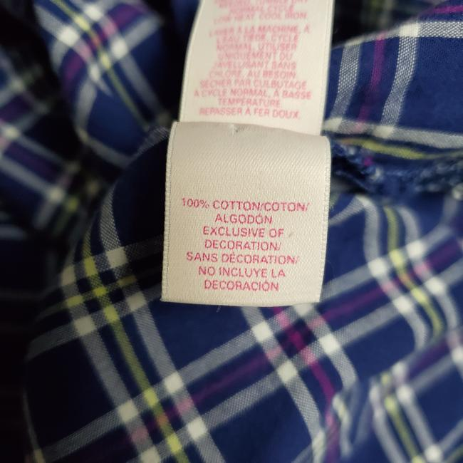 Victoria's Secret Pajama Plaid Wide Sleeves Button Down Shirt BLUE Image 3