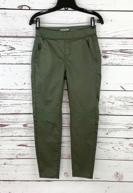 Denizen High Rise Moto Jeggings Stretchy Skinny Pants Army Green Image 1