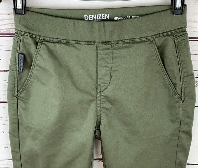 Denizen High Rise Moto Jeggings Stretchy Skinny Pants Army Green Image 2