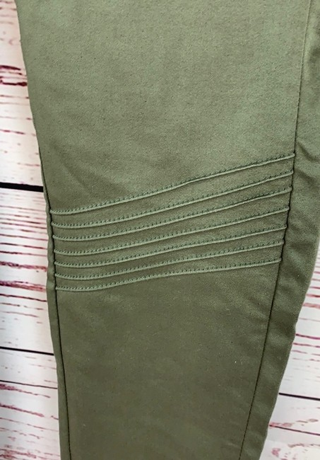 Denizen High Rise Moto Jeggings Stretchy Skinny Pants Army Green Image 3