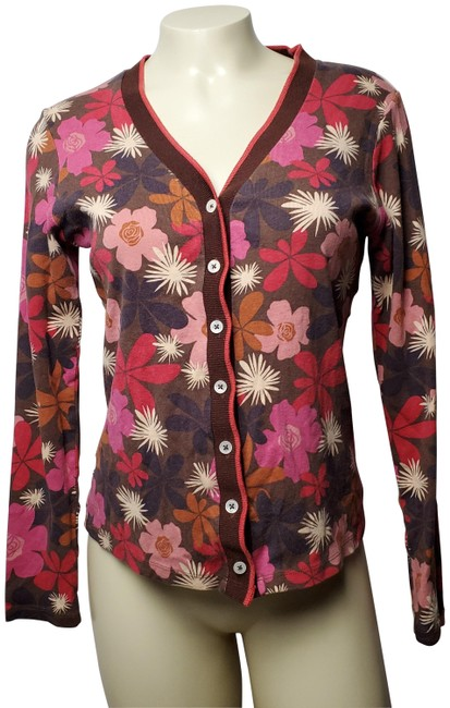 Preload https://img-static.tradesy.com/item/26149532/boden-brown-button-front-floral-sweater-cardigan-size-12-l-0-2-650-650.jpg