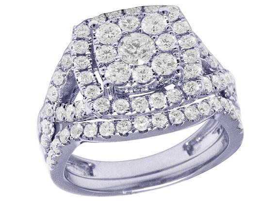 Preload https://img-static.tradesy.com/item/26149653/jewelry-unlimited-14k-white-gold-square-flower-cluster-halo-bridal-set-2-ct-ring-0-0-540-540.jpg