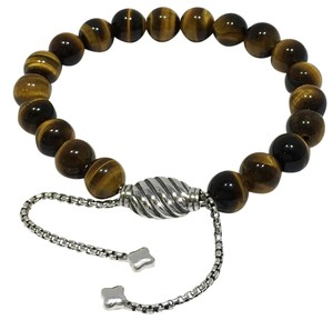 David Yurman Silver Spiritual Bead Tiger's Eye Bracelet