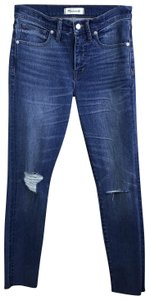 Madewell Raw Hems Deconstructed Distressed High Rise Skinny Jeans-Medium Wash