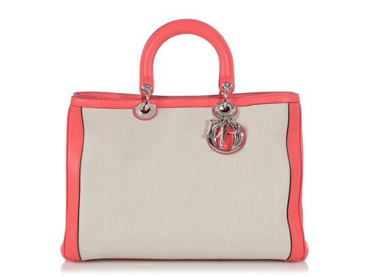 Preload https://img-static.tradesy.com/item/26149833/dior-diorissimo-large-leather-pink-canvas-tote-0-0-540-540.jpg