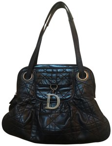 Dior Tote in black with vintage bronze hardware charm (D)