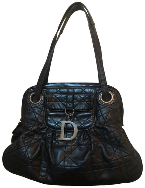Item - Shoulder Bag Quilted Cannage Shoulder Bag. Black with Vintage Bronze Hardware Charm (D) Lambskin Leather Tote