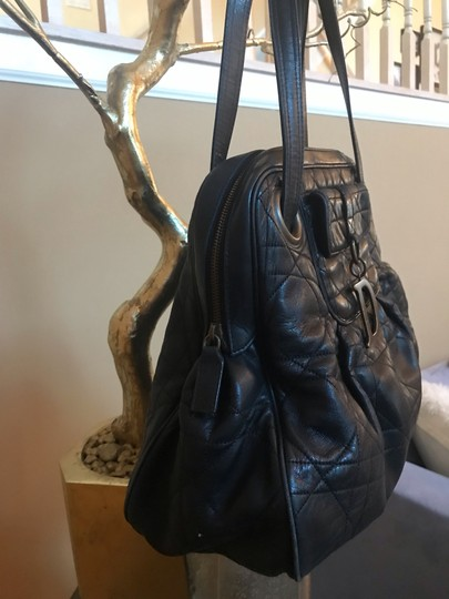 Dior Tote in black with vintage bronze hardware charm (D) Image 1