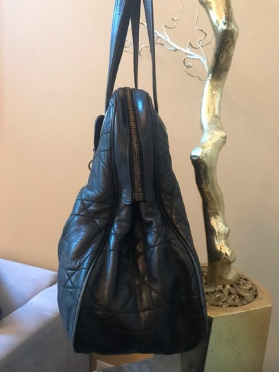 Dior Tote in black with vintage bronze hardware charm (D) Image 2