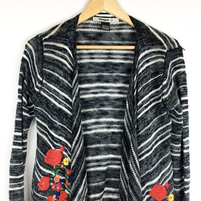 Desigual Striped Embroidered Floral Sweater Image 3
