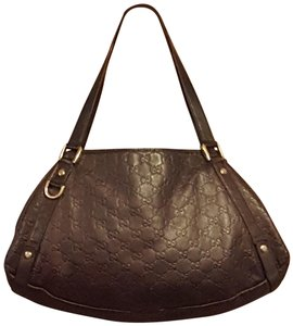 Gucci Leather Gg Gold Hardware Lining Abbey Satchel in Brown