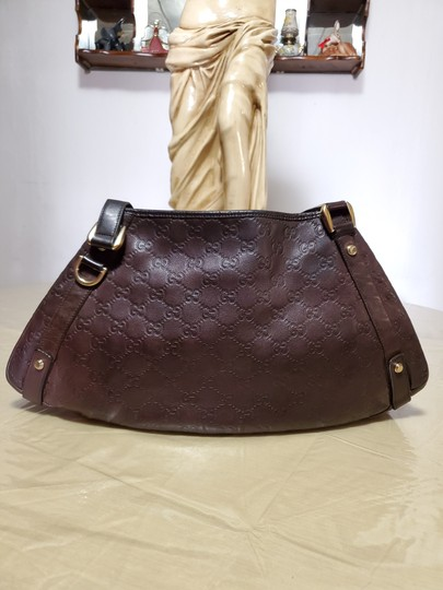 Gucci Leather Gg Gold Hardware Lining Abbey Satchel in Brown Image 1