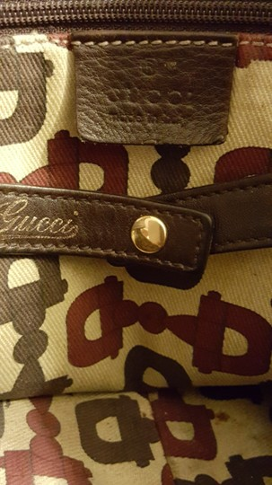 Gucci Leather Gg Gold Hardware Lining Abbey Satchel in Brown Image 5