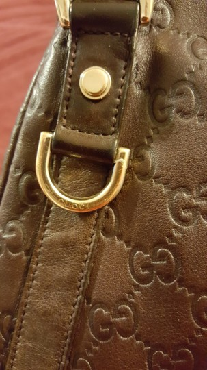 Gucci Leather Gg Gold Hardware Lining Abbey Satchel in Brown Image 8