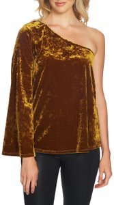 1.STATE Velvet One Shoulder Stretchy Top Gold