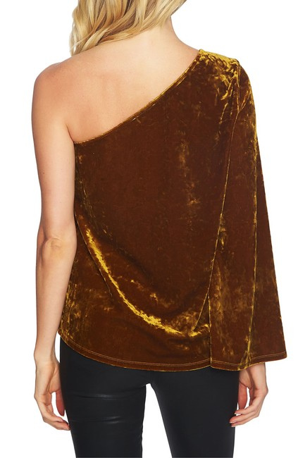 1.STATE Velvet One Shoulder Stretchy Top Gold Image 1