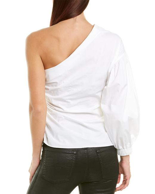 1.STATE Monochrome One Shoulder Poplin Ruffle Elastic Top White Image 1