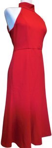 Donna Morgan Fit & Flare Halter Crepe Classic Fit Evening Dress